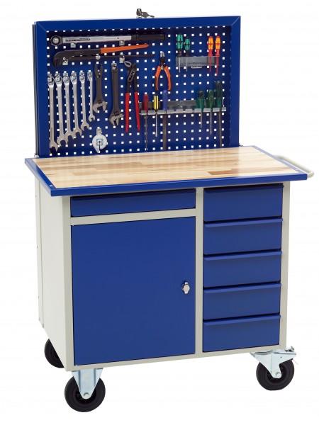 Werkstattwagen mit versenkbarer Rückwand, 6 Schubladen + Schrankfach