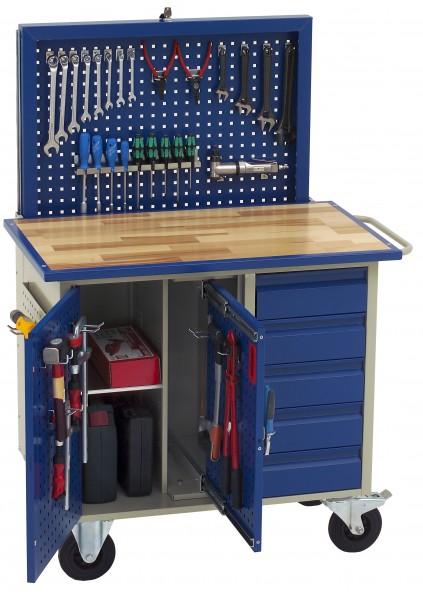 Dinzl Werkstattwagen mit versenkbarer Rückwand, 5 Schubladen + Schrankfach