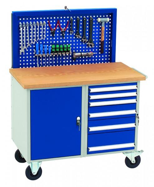 Dinzl Werkstattwagen mit versenkbarer Rückwand, 6 Schubladen + Schrankfach